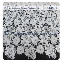 Quality Mesh polyester lace Fabric White Flower  Embroidered Lace material for girls dress wholesale
