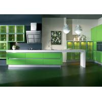 Italian Design Modular Lacquer Kitchen Cabinets , Apple Green Color Kitchen Cabinets