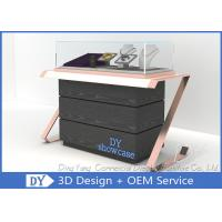 Quality Elegant Comfortable Black Rose Gold Wood Glass Sit Down Jewelry Case With Lights wholesale