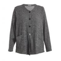 China Button Closure Grey Color Women's Knit Cardigan In Autumn Or Early Winter on sale