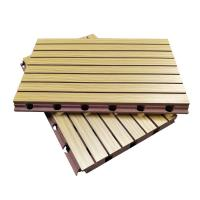 Quality 3D Grooved Wooden Acoustic Ceiling Tiles / Soundproof Decorative Wall Panels wholesale