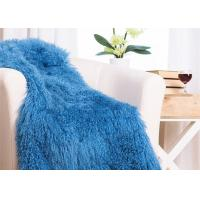 Quality 48 X 72 Inches Large Authentic Mongolian Lamb Fur Blanket , Home Style Lambskin Rug wholesale