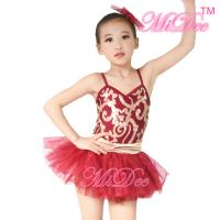 Quality Fancy Kids Dance Costumes Floral Sequin Dress Matching Tulle Tutu Skirt wholesale