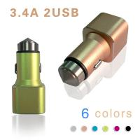 Quality 2 in 1 Dual USB Car Charger With Safety Emergency Rescue Harmer 5V 3.4A wholesale