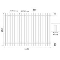 Quality Square picket  Flat Top Garrison Fence Panels 2100mm*2450mm Height 25mm Upright Spacing 100mm Powder Coated Black wholesale
