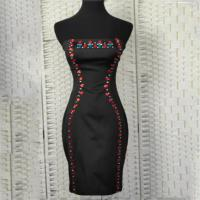 China Sexy Strapless Ladies Elegant Dresses With Drop - Shaped Stone Decoration on sale