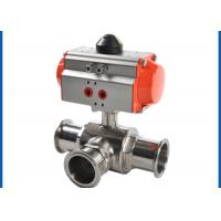 Quality 3 Way Sanitary Ball Valve , Pneumatic Actuated Ball Valve Welded Connection Type wholesale