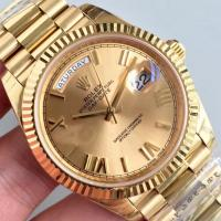 Buy cheap Wholesale 2016 Rolex Day-Date 228239 Full Yellow Gold 40mm Automatic 3255 Gold Dial Roma Marks Fluted Bezel Watch from wholesalers