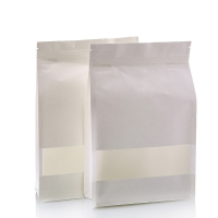 China matte resealable zipper top food spot packaging bags flat bottom white kraft paper bags with rectangle window on sale