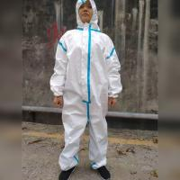 China Isolation Gown Clothing Protective Safety Clothing Blue Tape Fully Sealed 3 Layers Against Coronavirus for sale