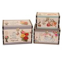 Quality decoration antique vintage square printing leather wooden storage box trunk organizer trunk box wholesale