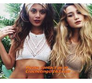 Quality Feminina Cropped Crochet top women knitted halter Strappy crop summer tanks tops bra Bikin wholesale