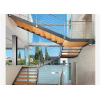 Quality 2018 Custom staircase glass railing designs wooden iron straight staircase wholesale