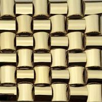 Quality Golden 3D Arched Metallic Mosaic Tiles Trim Stainless Steel Laminate Backsplash wholesale