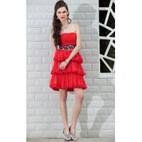 Quality Sell 2014 Summer new sleeveless backless ray silk yarn dress sweet cake red evening dress wholesale