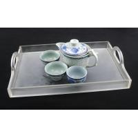China Whole Sale Black Double Handles Acrylic Tea Tray / Fruit dish / serviing tray on sale