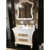 Quality PVC Golden Painting Embossing Floor Standing Bathroom Cabinet With Mirror wholesale