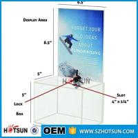 Quality customized hot sale clear acrylic donation box with locks high quality wholesale