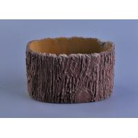 Quality 11cm Height Rough Tree Trunk Design Cement Ceramic Candle Holder wholesale