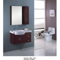 Quality Marble countertop bathroom vanity  90 X 47 / cm , custom made bathroom cabinets dark red color wholesale
