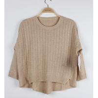 Quality Loose Jacquard Sweater for Ladies Plaid Back Cindy Beige Batwing Sleeve wholesale