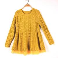 Quality Long Sleeve Girl's Jacquard Sweaters Pullover Round Neck Cable Knits wholesale