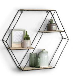 China Hexagon wall shelf wood and metal mix 4 tier vintage wall shelves floating Wood Wall Shelf on sale