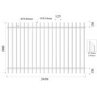 Quality 45 degree mitred Picket 19mmx19mm H1800mmxW2450mm Rail 40mm x 2 Black Powder Coated Diplomat Fence wholesale