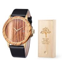 Quality Custom Bamboo Wooden Quartz Watch Leatcher Strap 3/5 ATM Waterproof For Men wholesale