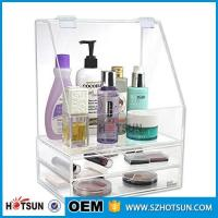 Quality Diamond Handle Clear Acrylic Makeup Organizer, Acrylic Makeup Drawer Box, Flip Cover Acrylic Cosmetic Storage Boxes wholesale