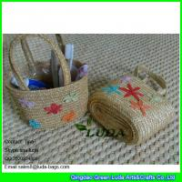 China LDMC-013 fashion kids beach bags handmade embroidery star wheat straw handbags on sale