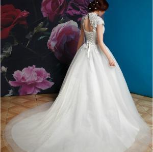 China vintage portait pricess train elegant wedding dress on sale