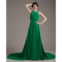 Quality unique Sleeveless girls Evening Party Dresses / prom dresses with long trains wholesale