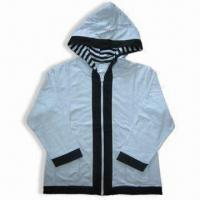 China Women's Blouse/Stripe Trim Hooded Knit Jacket, Made of 60% Cotton and 40% Polyester French Terry on sale