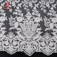 China 131CM White Embroidered Bridal Lace Fabric For Attire Azo Free High Color Fastness on sale