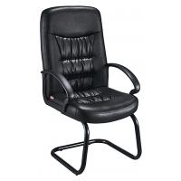China Comfy Non Swivel Desk Chair , Black Leather Meeting Room Chairs With Arms on sale