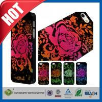 Quality Lady Red Glitter Flowers Plastic Luxury Apple Cell Phone Cases Back Covers For Iphone 5 / 5S wholesale