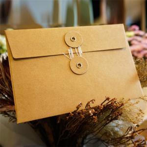 Postcard Storage Packaging Kraft Paper Envelope With Button / String Closure