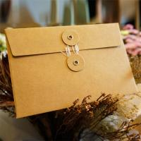 Cheap Postcard Storage Packaging Kraft Paper Envelope With Button / String Closure for sale