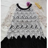 China cotton lace top ladies cotton lace blouse short seelve crochet lace smock on sale