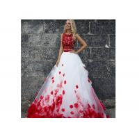 Cheap Vintage Two Pieces Ball Gown Prom Dresses Applique Flowers Evening Dress for sale