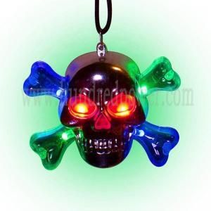 China Fashion Skull Led Flashing Necklace Blinking Led Glowing Crystal Necklace on sale