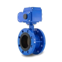 China Water Oil Gas Worm Gear Box FLG DN80 Double Flange Butterfly Valve on sale