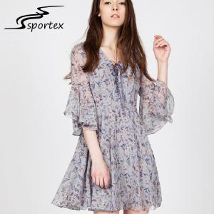 Quality Chiffon V Neck Women Fashion Dress Short Sleeve Style Elegant Appearance wholesale