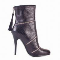 China Women's High-heeled Leather Boots with Rubber Outsole and Printed Heel on sale