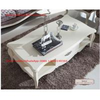 Cheap Neoclassical style Coffee table in smart flower craft with tempered glass top and Teatable set with wood drawers for sale