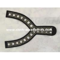 Quality Y Shape Black  Beaded Neck Trim 25CM × 15CM for Wide Shoulder Dress wholesale