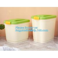 Quality wheelie plastic airtight set 3-piece pet food container, 20KG 53L pet food pp plastic box container for storage, bagease wholesale