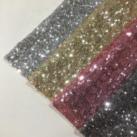 Cheap Modern Silver Sequin Fabric , Sequin Lace Fabric Sparkly Mesh Garment Applied for sale