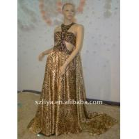 Quality Leopard Print Halter Crystal Sleeveless Floor length Trailing Sexy Evening Dresses wholesale